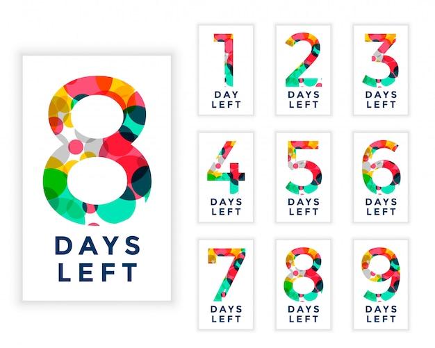Streszczenie styl liczby dni do końca szablonu