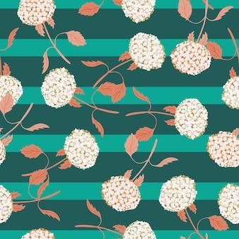 Streszczenie styl natura wzór z losowym nadrukiem kwiat hortensji. turkusowe tło paski. ilustracja wektorowa do sezonowych wydruków tekstylnych, tkanin, banerów, teł i tapet.