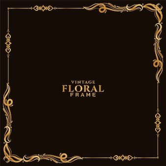 Streszczenie stylowy złoty kwiatowy rama tło wektor