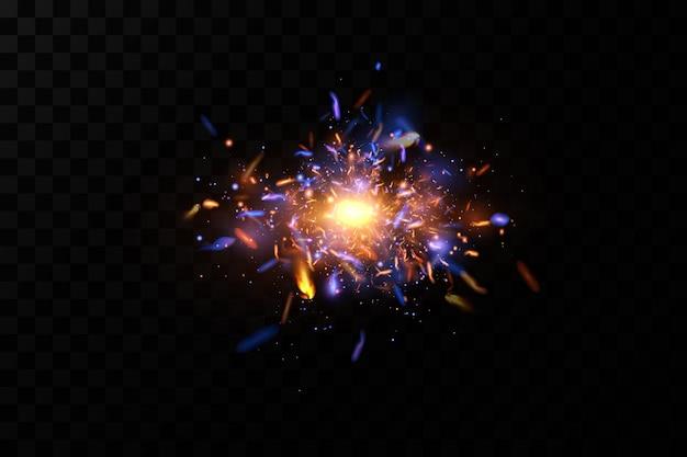 Streszczenie światło. iskry w neonie kosmicznym.