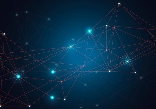 Streszczenie świecące jasne cząsteczki z kropkami i liniami na niebieskim tle.