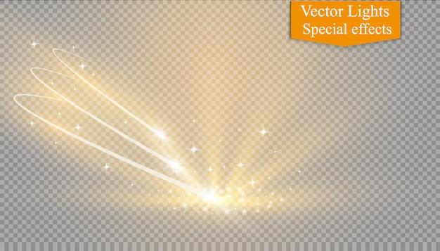 Streszczenie świecące magiczne światło efekt gwiazdy z rozmycia neonowego zakrzywionych linii. błyszczące gwiazdy szlak pyłu z boku. latająca kometa na przezroczystym tle.