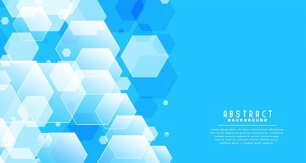 Streszczenie świecące sześciokątne niebieskie tło