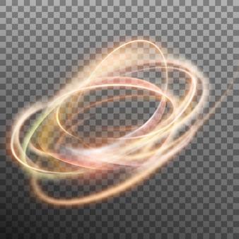 Streszczenie świecący pierścień na przezroczystym tle. koło ognia z efektem świetlnym. a także zawiera