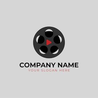 Streszczenie sylwetka logo kina projekt szablonu na białym tle