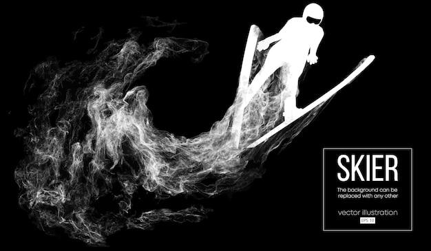 Streszczenie sylwetka narciarza na białym tle