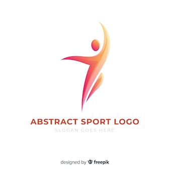 Streszczenie sylwetka sport logo płaska konstrukcja