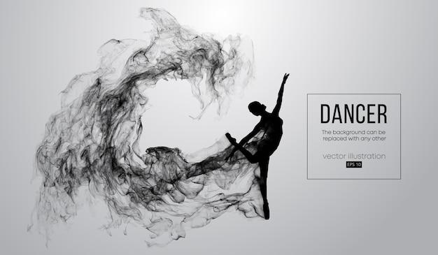 Streszczenie sylwetka taniec dziewczyny na białym tle