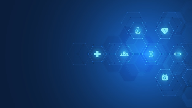 Streszczenie symbol chemii na ciemnoniebieskim tle z wzorami chemicznymi i strukturami molekularnymi, koncepcją i pomysłem na naukę i technologię innowacji.