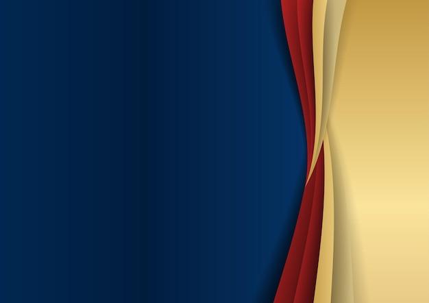 Streszczenie szablon ciemny niebieski luksus premium tło z elementami złote i czerwone kształty geometryczne. garnitur na tło prezentacji, certyfikat, wizytówkę, baner, ulotkę i wiele więcej