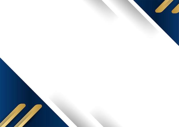 Streszczenie szablon ciemny niebieski luksusowy premium tło z elementami złote kształty geometryczne. garnitur na tło prezentacji, certyfikat, wizytówkę, baner, ulotkę i wiele więcej
