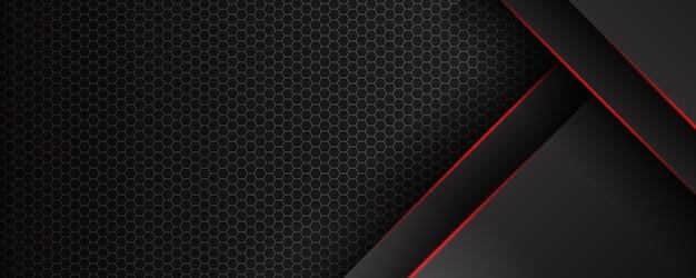 Streszczenie szablon czarne tło z wzorem trójkątów i czerwonymi liniami oświetlenia. koncepcja nowoczesnego projektu technologii sportowej.