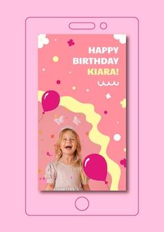 Streszczenie szablon historii na instagramie urodziny dziecka