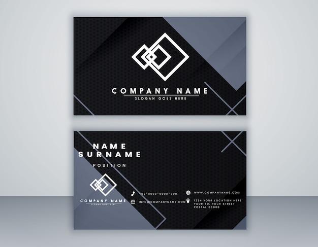 Streszczenie szablon karty czarny i szary kolor minimalny