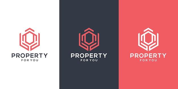 Streszczenie szablon logo budynku i ręce. inspiracja do projektowania logo nieruchomości