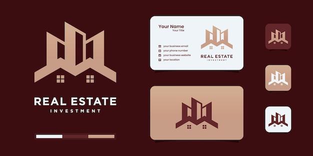 Streszczenie szablon logo domy budynku. inspiracja do projektowania logo nieruchomości.