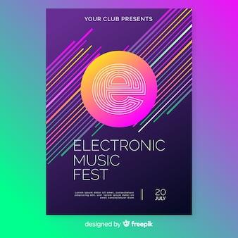 Streszczenie szablon plakat muzyka elektroniczna