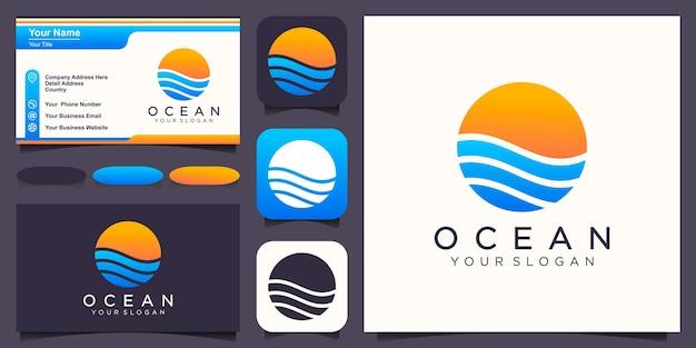 Streszczenie szablon projektu logo oceanu. prosty i nowoczesny