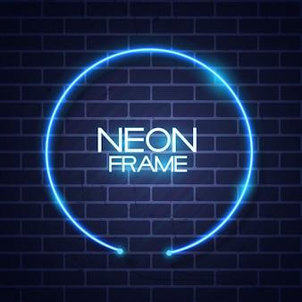 Streszczenie szablon rama neon na teksturę ściany z cegieł
