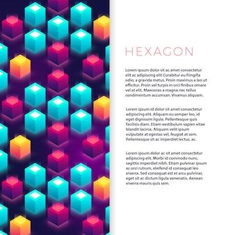 Streszczenie szablon ulotki z kształtami kolorowe sześciokątne