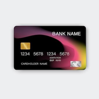 Streszczenie szablonu karty kredytowej. czarny i fioletowy błyszczący plastikowy styl.