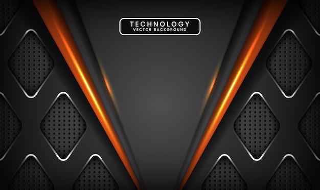 Streszczenie szare tło technologii z pomarańczowym efektem świetlnym w ciemnej przestrzeni