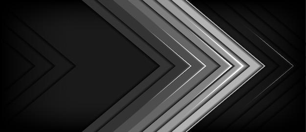 Streszczenie szary metal strzałka kierunku ciemne puste tło przestrzeni