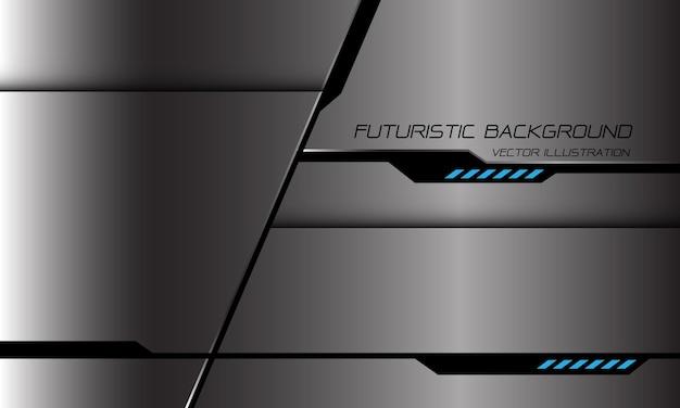 Streszczenie szary metaliczny czarny cień linii cyber geometryczne niebieskie światło moc projekt nowoczesnej futurystycznej technologii tło