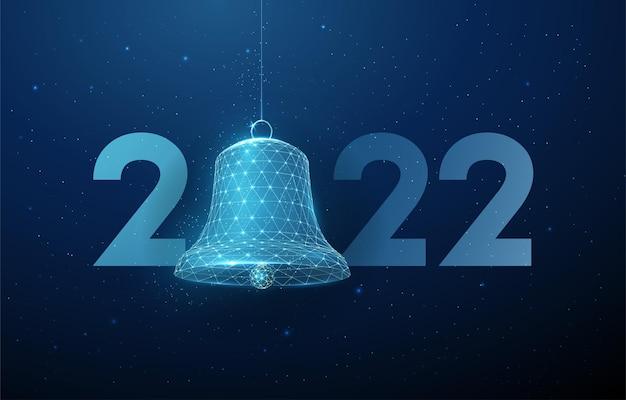 Streszczenie szczęśliwego nowego roku 2022 kartkę z życzeniami z dzwonkiem