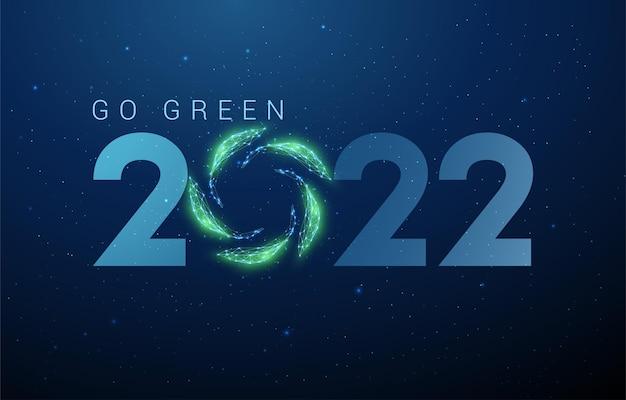 Streszczenie szczęśliwego nowego roku 2022 kartkę z życzeniami z zielonymi liśćmi w okręgu low poly style design vector