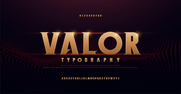 Streszczenie szeryfowe złote litery alfabetu. typografia nowoczesny złoty na rock, muzykę, grę, przyszłość, kreatywność, czcionkę i liczbę czcionek projektowania 3d.