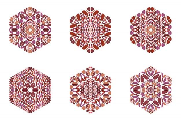 Streszczenie sześciokąt kolorowy kwiat na białym tle logo zestaw