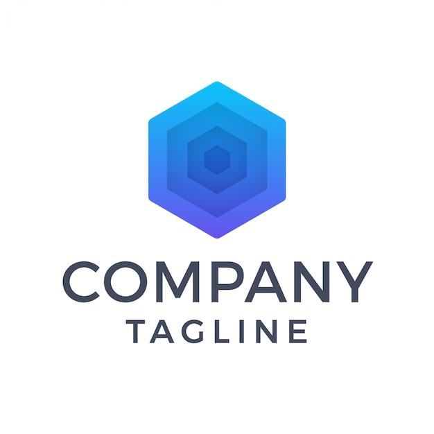 Streszczenie sześciokątne logo ulgi geometryczne wycięcie papieru