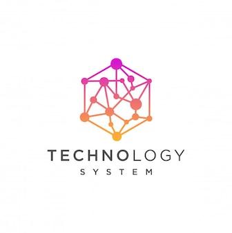 Streszczenie sześciokątne projektowanie logo z kropka połączenia