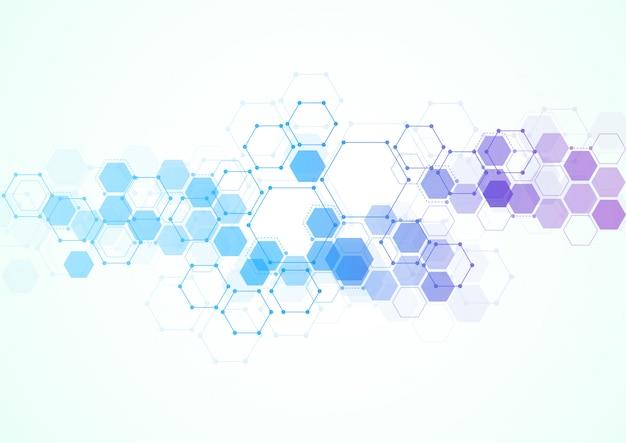 Streszczenie sześciokątne struktury molekularne