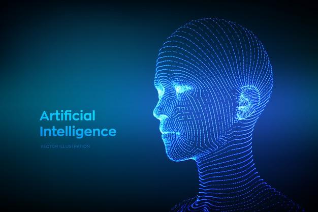 Streszczenie szkielet cyfrowej ludzkiej twarzy. ludzka głowa w cyfrowej interpretacji komputerowej robota