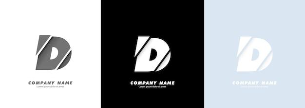 Streszczenie sztuka alfabet litera d logo. zepsuty projekt.