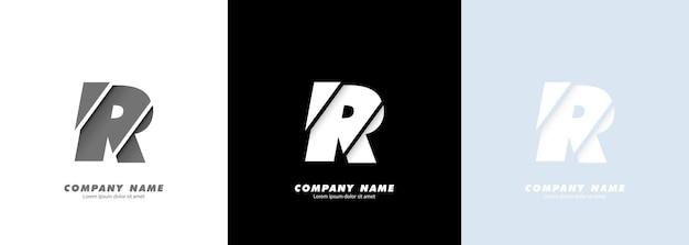 Streszczenie sztuka alfabet litera r logo. zepsuty projekt.