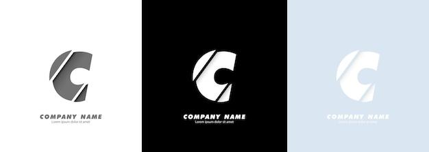 Streszczenie sztuka alfabet litery c logo. zepsuty projekt.