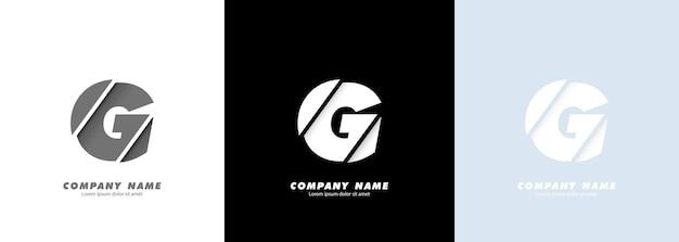 Streszczenie sztuka alfabet litery g logo. zepsuty projekt.