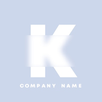 Streszczenie sztuka alfabet litery k logo. glassmorfizm . rozmyte czcionki w stylu, projekt typografii, litery i cyfry alfabetu. defocus design czcionki, skoncentrowany i nieostry alfabet stylu. ilustracja wektorowa