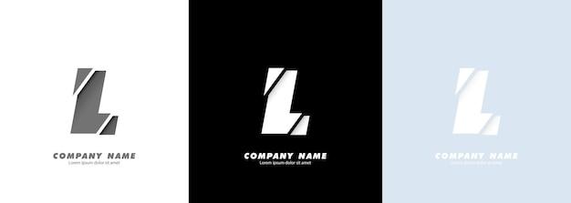 Streszczenie sztuka alfabet litery l logo. zepsuty projekt.
