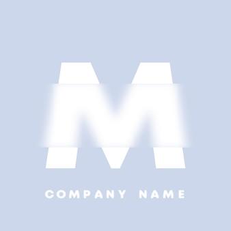 Streszczenie sztuka alfabet litery m logo. glassmorfizm . rozmyte czcionki w stylu, projekt typografii, litery i cyfry alfabetu. defocus design czcionki, skoncentrowany i nieostry alfabet stylu. ilustracja wektorowa.