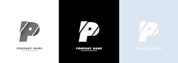 Streszczenie sztuka alfabet litery p logo. zepsuty projekt.