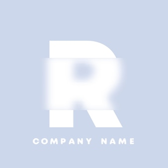 Streszczenie sztuka alfabet litery r logo. glassmorfizm . rozmyte czcionki w stylu, projekt typografii, litery i cyfry alfabetu. defocus design czcionki, skoncentrowany i nieostry alfabet stylu. ilustracja wektorowa.