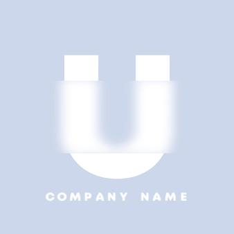 Streszczenie sztuka alfabet litery u logo. glassmorfizm . rozmyte czcionki w stylu, projekt typografii, litery i cyfry alfabetu. defocus design czcionki, skoncentrowany i nieostry alfabet stylu. ilustracja wektorowa.
