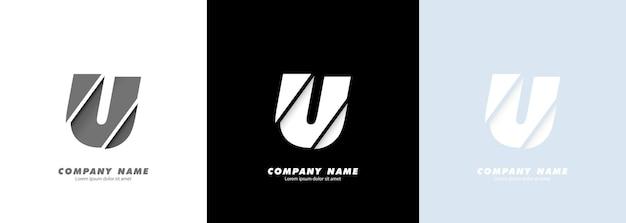 Streszczenie sztuka alfabet litery u logo. zepsuty projekt.
