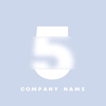 Streszczenie sztuka logo numery 5. glassmorfizm . rozmyte czcionki w stylu, projekt typografii, litery i cyfry alfabetu. defocus design czcionki, skoncentrowany i nieostry alfabet stylu. ilustracja wektorowa