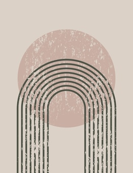 Streszczenie sztuka tło w modnym stylu minimalistycznym z rainbow i słońce. ilustracja wektorowa boho na ścianę, t-shirt print, okładka, baner, dla mediów społecznościowych