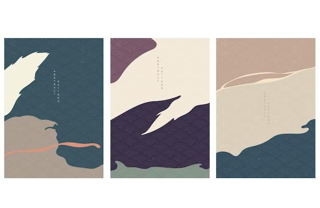 Streszczenie sztuka tło z japońskim wzorem fal. ilustracja szablonu elementów krzywej.
